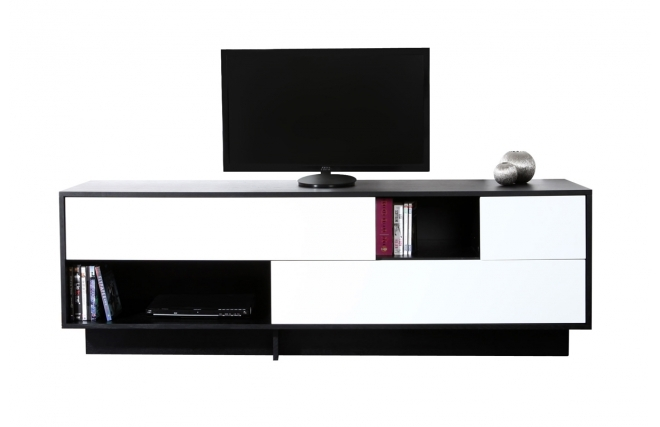 meubles tv miliboo meuble tv design noir et blanc futura. Black Bedroom Furniture Sets. Home Design Ideas