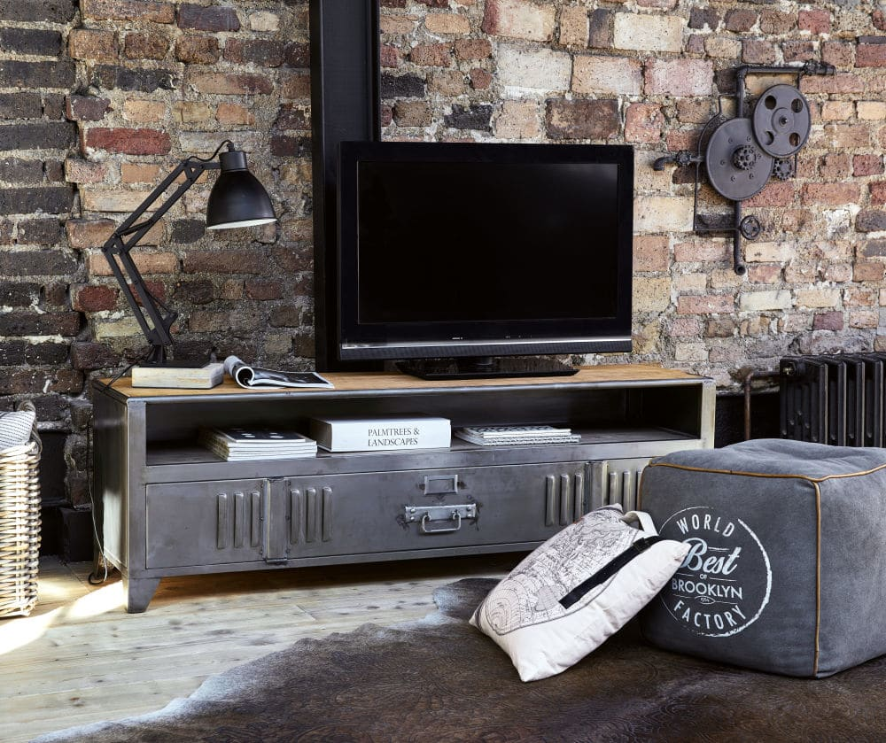 Meuble Tv Indus 1 Porte Rydell En Metal Et Manguier Meuble Tv Maisons Du Monde Iziva Com