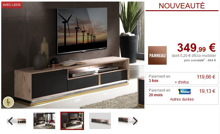 Meuble TV INTUITION LEDs 2 tiroirs Anthracite et Chêne pas cher ...