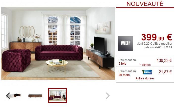 Meuble TV ISMAEL 3 portes MDF Coloris Noyer et Noir - Vente Unique