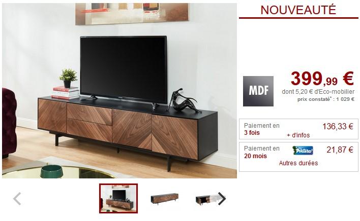 Meuble TV ISMAEL 3 portes MDF Coloris Noyer et Noir pas cher ...