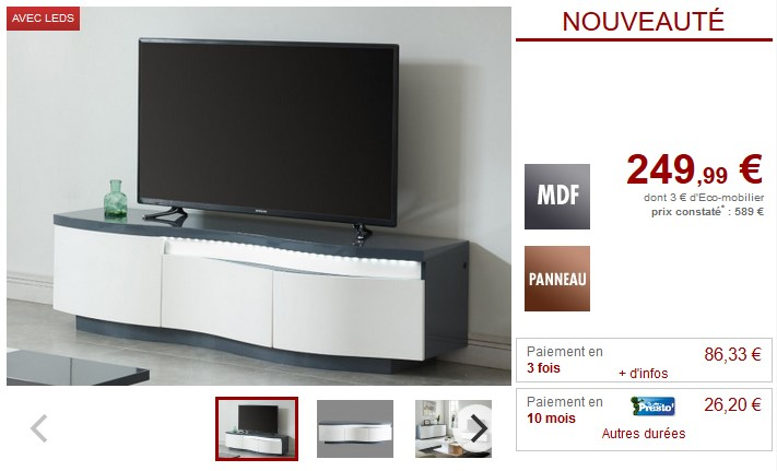 Meuble TV WINDY LEDs 3 portes MDF -Blanc et anthracite - Meuble Tv ...