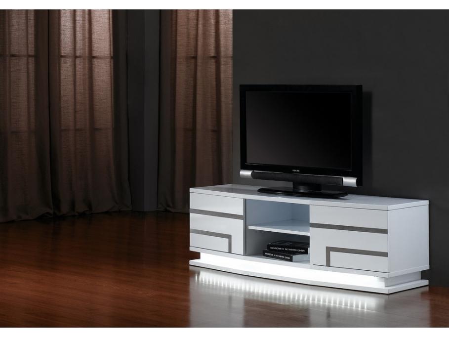 meuble tv pas cher vente unique meuble tv luminescence mdf laqu blanc - Meuble Tv Blanc Vente Unique