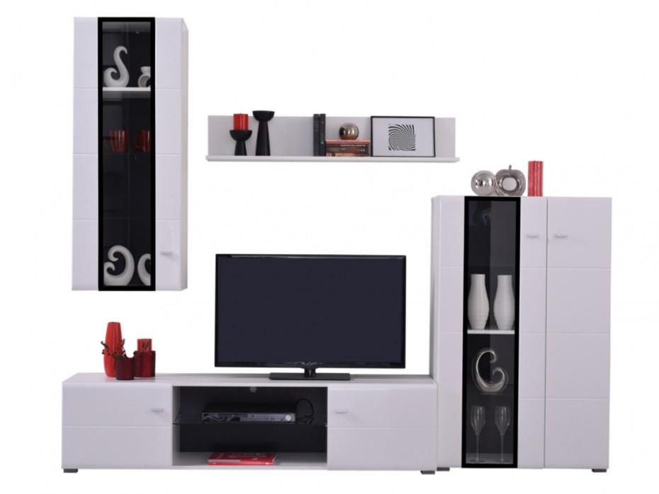 mur tv loretto avec rangements leds blanc et noir meuble tv vente unique. Black Bedroom Furniture Sets. Home Design Ideas