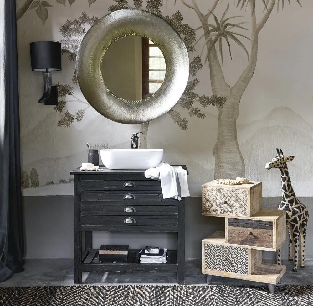 Meuble Sous Lavabo Maison Du Monde meuble vasque shalini en pin recyclé noir - meuble de salle