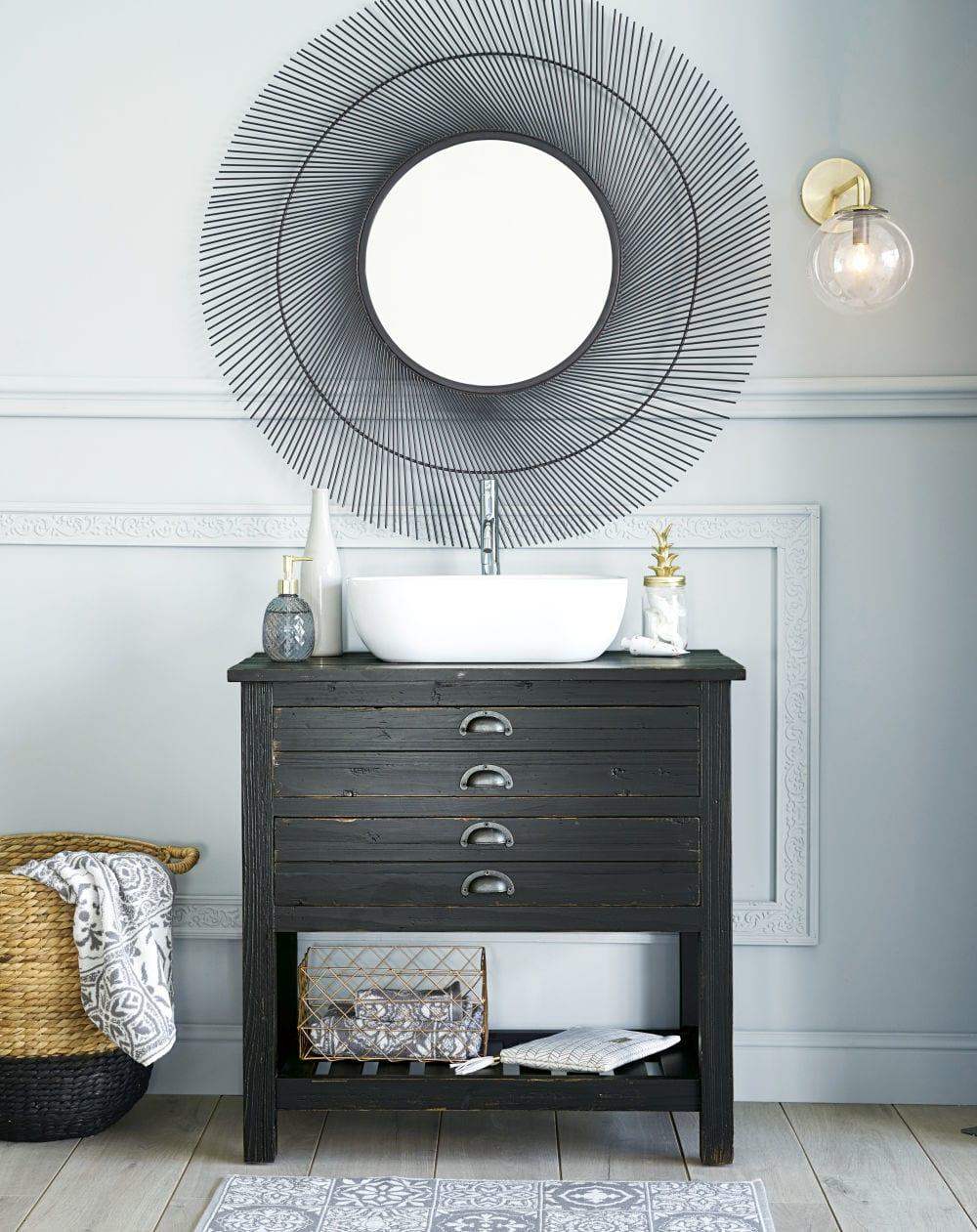 Meuble Sous Lavabo Maison Du Monde meuble double vasque sand 4 tiroirs - meuble de salle de
