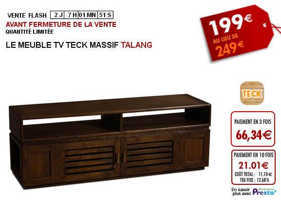 Vente Flash Meuble TV TALANG - Teck massif Prix 199 Euros Vente Unique 2ce8fea19289