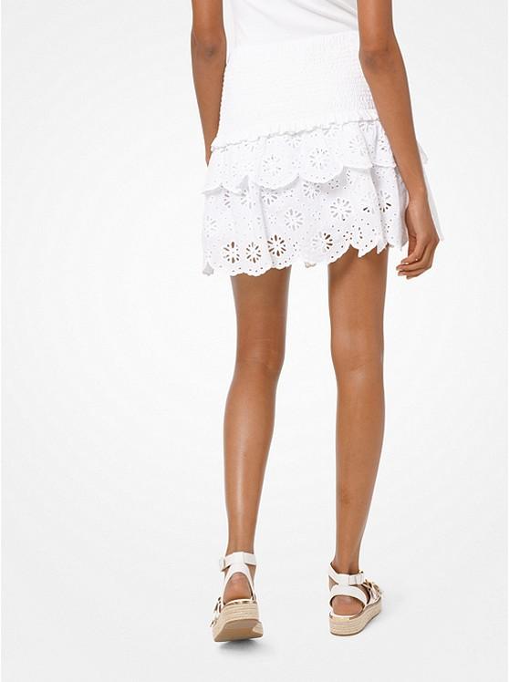 MICHAEL Michael Kors Mini-jupe En Coton à Oeillets Blanc
