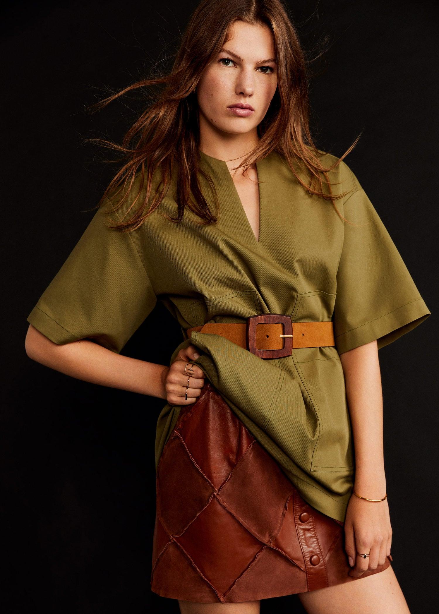 35e546292cd6fb Mango PATCH-I Minijupe cuir marron - Jupe Femme Mango