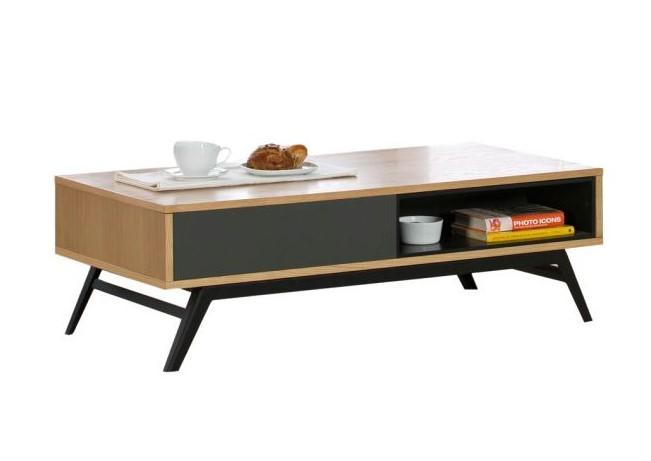 Table basse en bois KAYLAN avec tiroir et niche - Delamaison