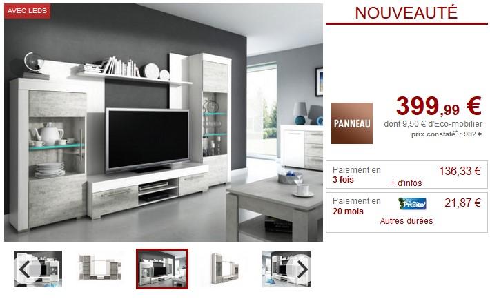 Mur TV AMORY avec rangements LEDs Blanc et Béton