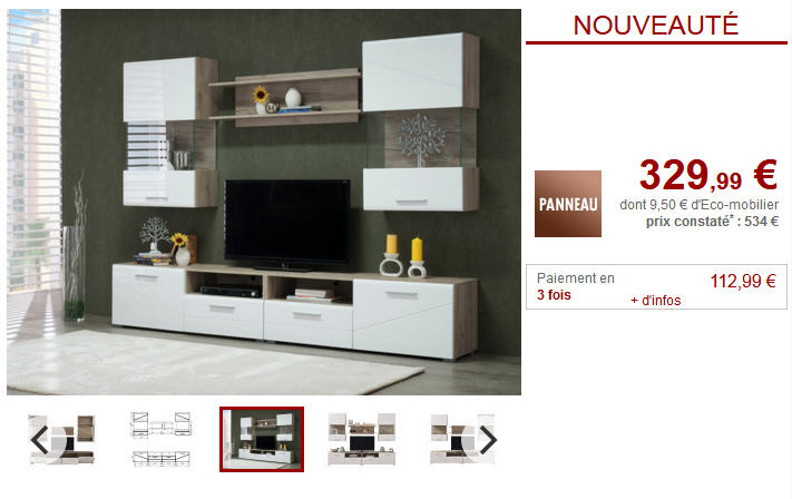 Mur TV BETINA avec rangements pas cher - Meuble Tv Vente Unique ...