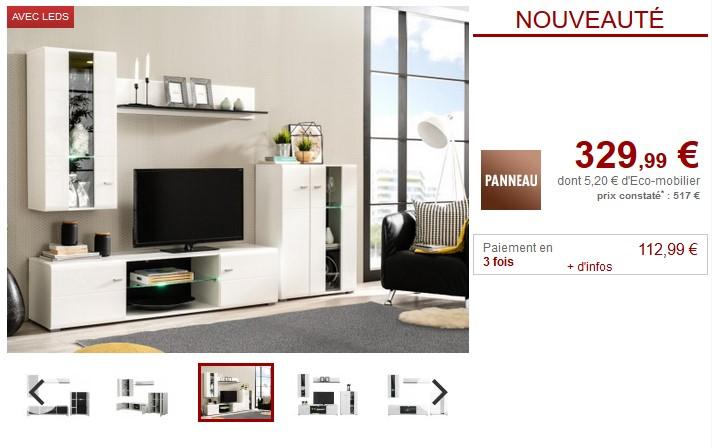 Mur TV LORETTA avec rangements et LEDs pas cher - Meuble TV Vente Unique