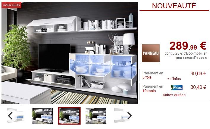 Mur TV à LEDs avec rangements LUGANO Blanc ou Chêne - Vente Unique