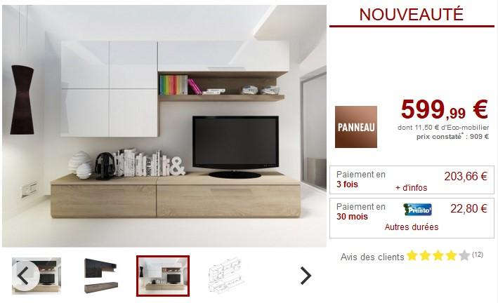 Mur TV MAKASAR avec rangements Finition laquée - Meuble Tv Vente ...