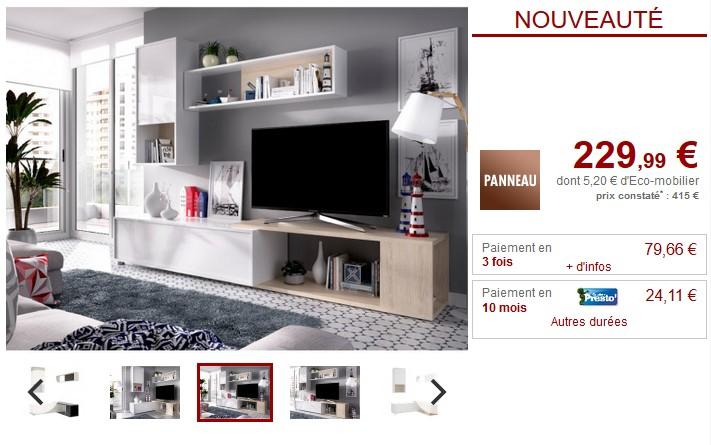 Mur TV modulable GAMBIE avec rangements pas cher - Meuble TV Vente Unique
