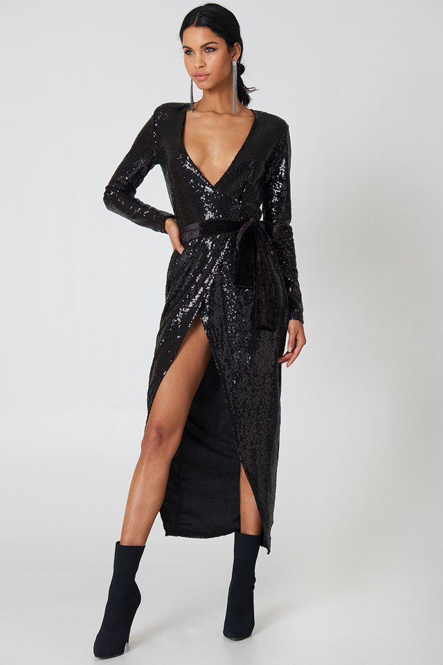 Overlap Sequin Dress Rebecca Stella NA-KD
