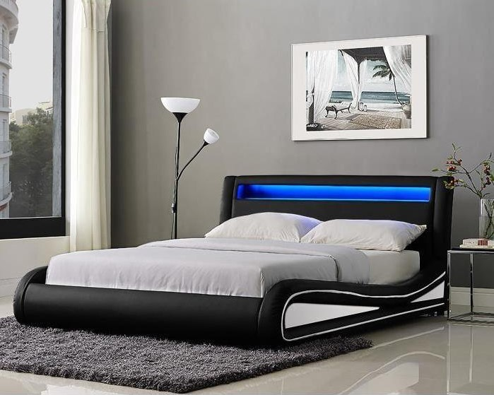 neptune lit adulte avec led sommier inclus lit adulte cdiscount. Black Bedroom Furniture Sets. Home Design Ideas