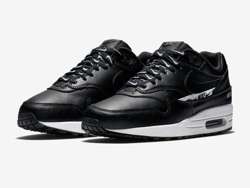 Nike Air Max 1 SE Logo Baskets Basses Noir/Blanc/Noir pour Femme