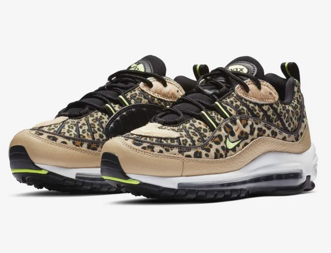 Nike Air Max 98 Premium Animal Minerai désert/Noir/Blé/Volt phosphorescent pour Femme