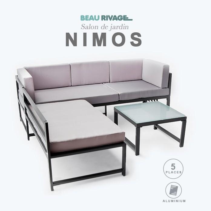 NIMOS Salon de jardin 5 places BEAU RIVAGE en aluminium