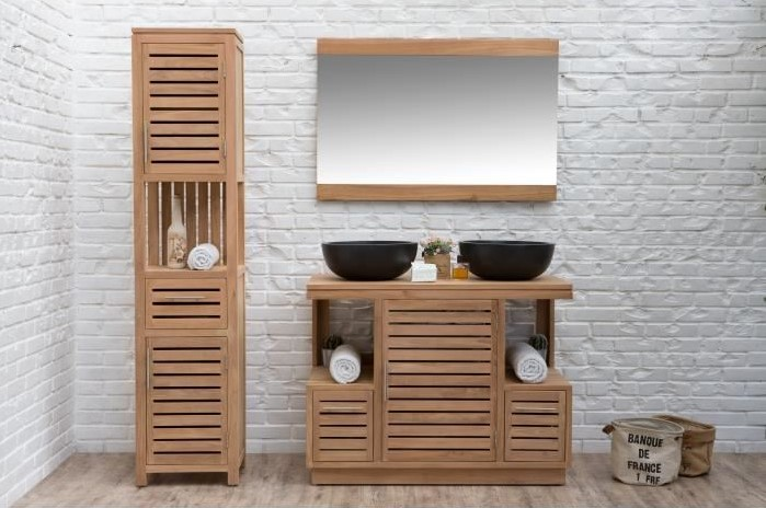 ensemble meuble de salle de bain balneo en teck massif 2 miroirs meuble salle de bain auchan. Black Bedroom Furniture Sets. Home Design Ideas