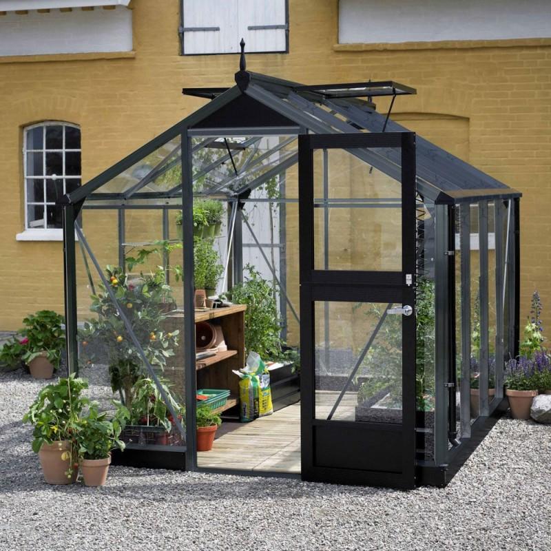 Serre en verre trempé Compact 6,6 m² Juliana anthracite + ...