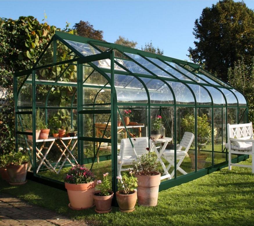 Serre de jardin Supreme verre trempé 11.4m² + embase