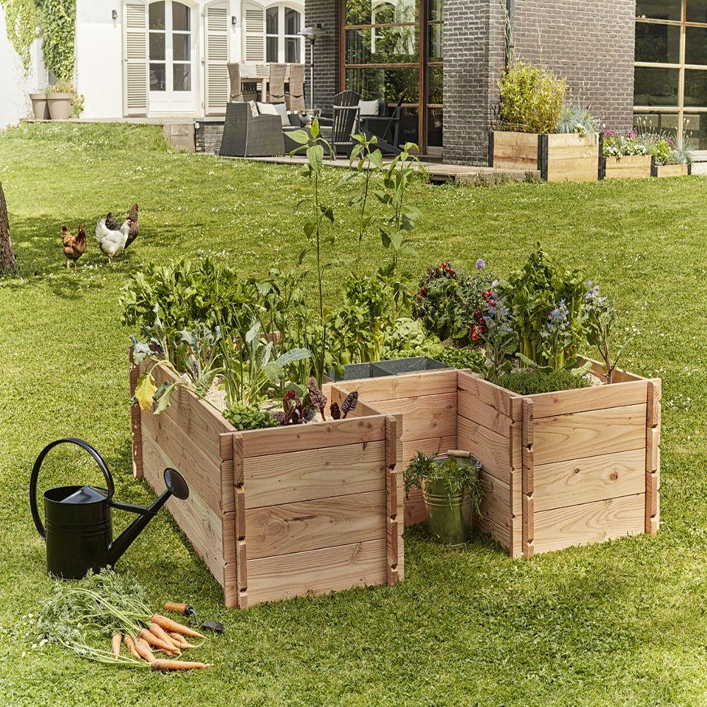 Potager Mobile En Bois carré potager en bois keyhole garden l170 x l170 cm pas cher