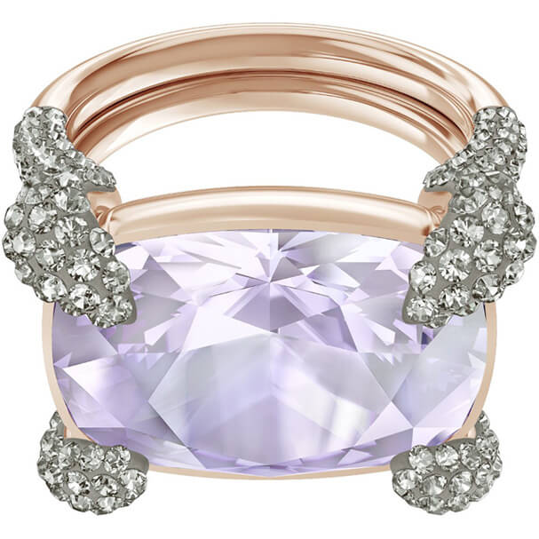 Bague cocktail Make up Swarovski mauve plaqué or rose