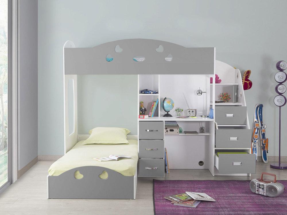 Lit superposé COMBAL avec rangements et bureau - Lit Enfant Delamaison - Iziva.com