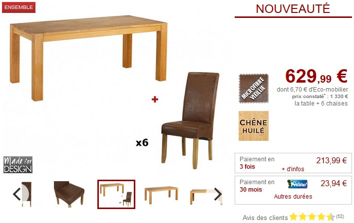 Pack Salle A Manger Table Broceliande 6 Chaises Santos Ensemble