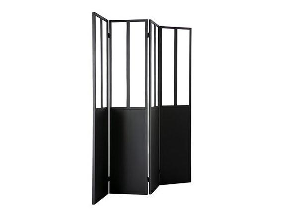 Paravent 4 vantaux RACK en métal noir et verre