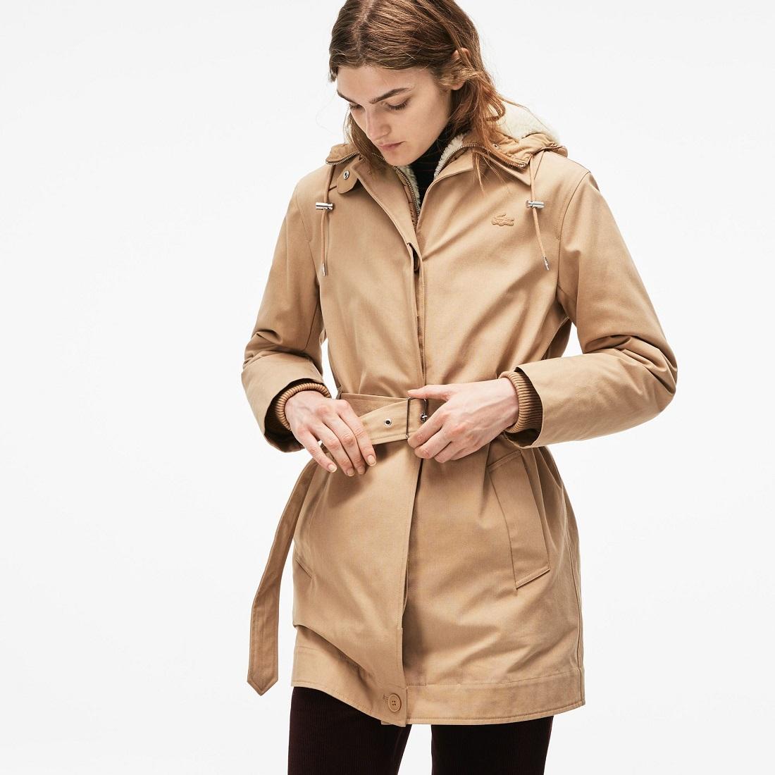964975bca5 Parka 3 en 1 à capuche Lacoste en canvas de coton avec veste amovible