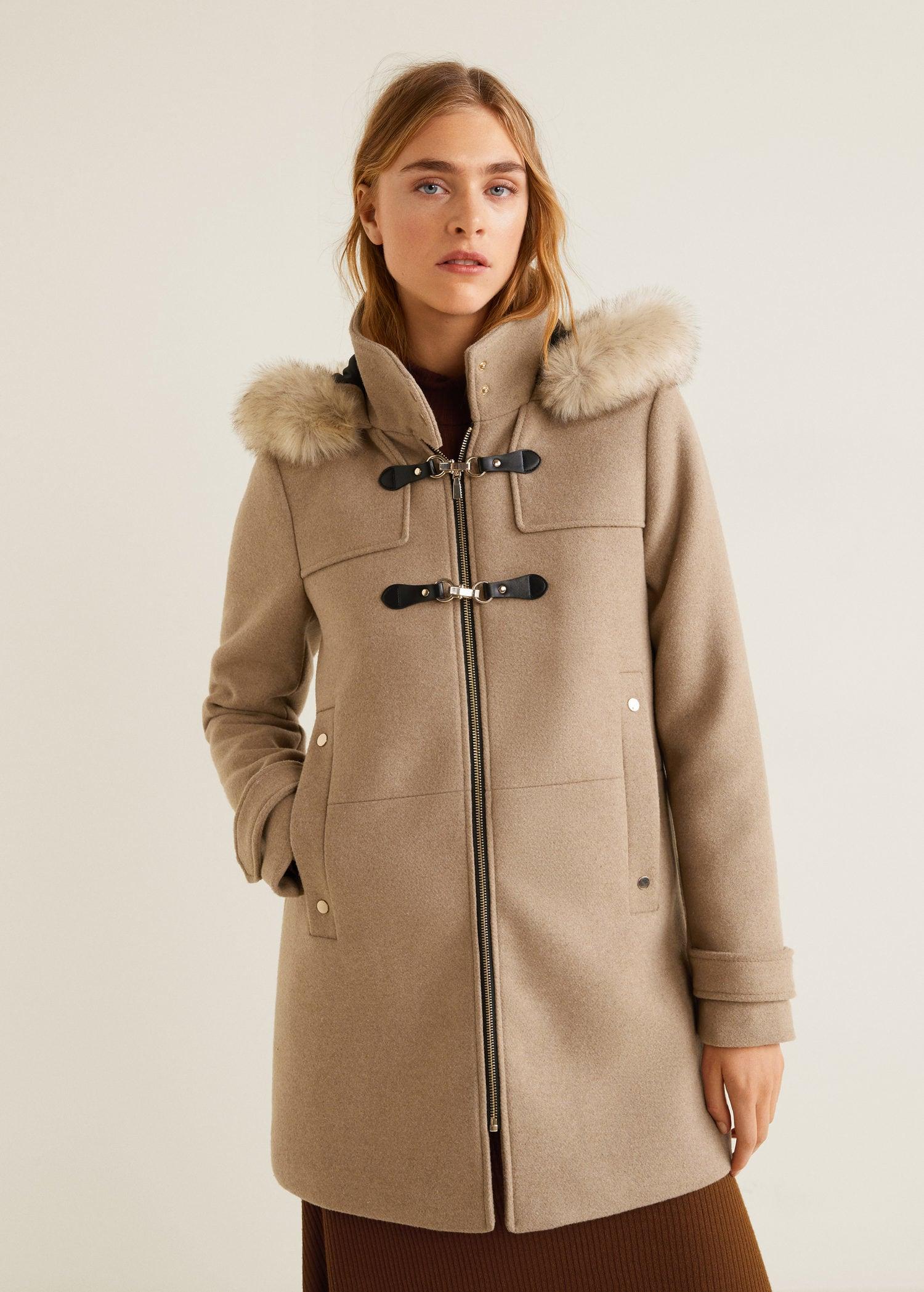 manteau femme beige capuche