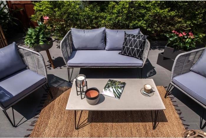 Salon jardin OLINDA résine tressée beige 7 places + table ...