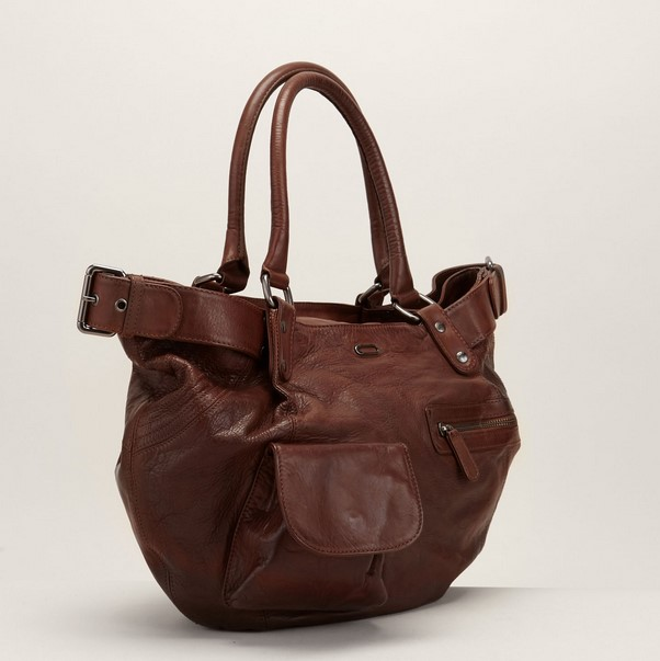 Ikks women Petit sac cabas en cuir marron - Monshowroom