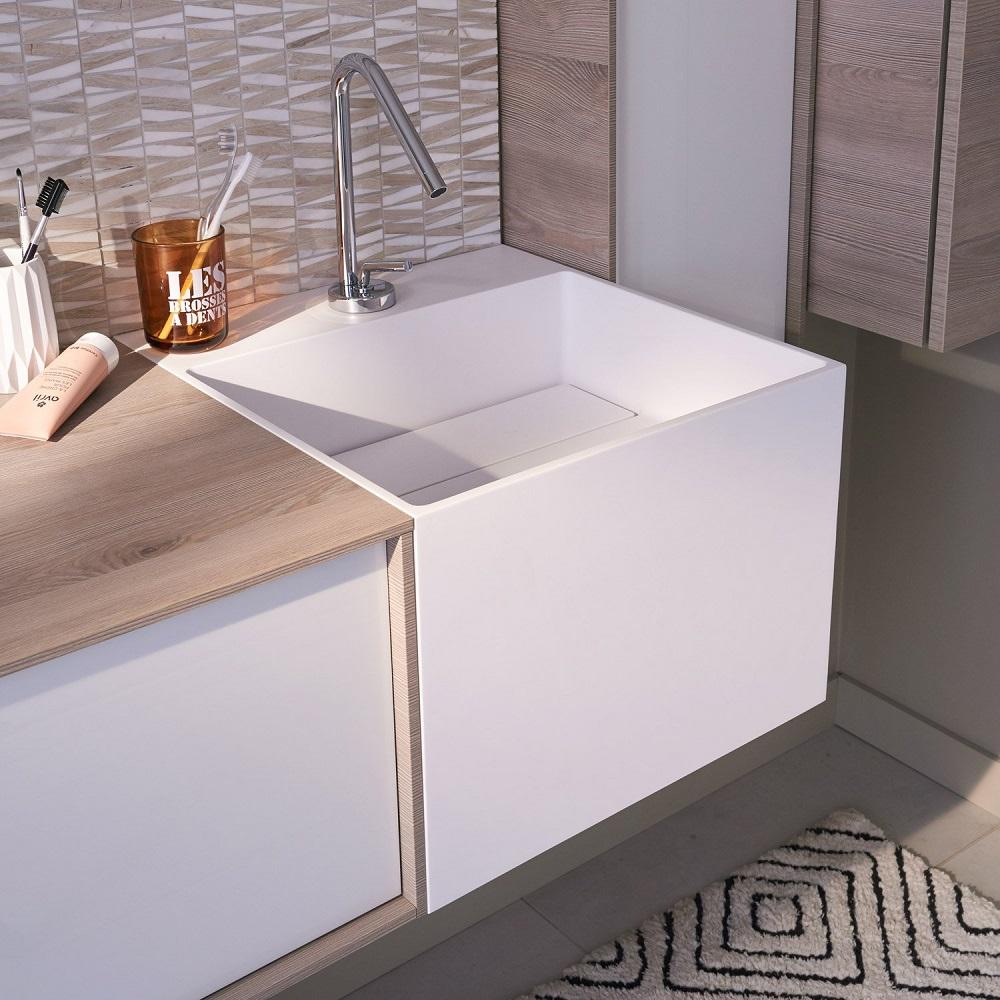 Audacieuse Plan vasque simple Cube Résine de synthèse - Plan vasque pour EF-02