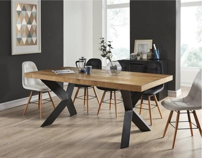 PLATON Table à manger de 6 à 8 personnes style industriel pas cher ...
