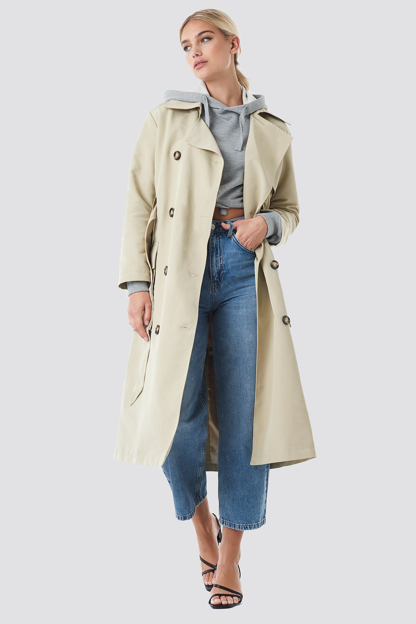 Trench-coat à poches beige NA-KD Trend