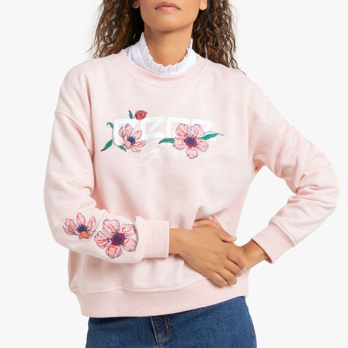 Sweat logo broderie Bahira Pepe Jeans rose clair