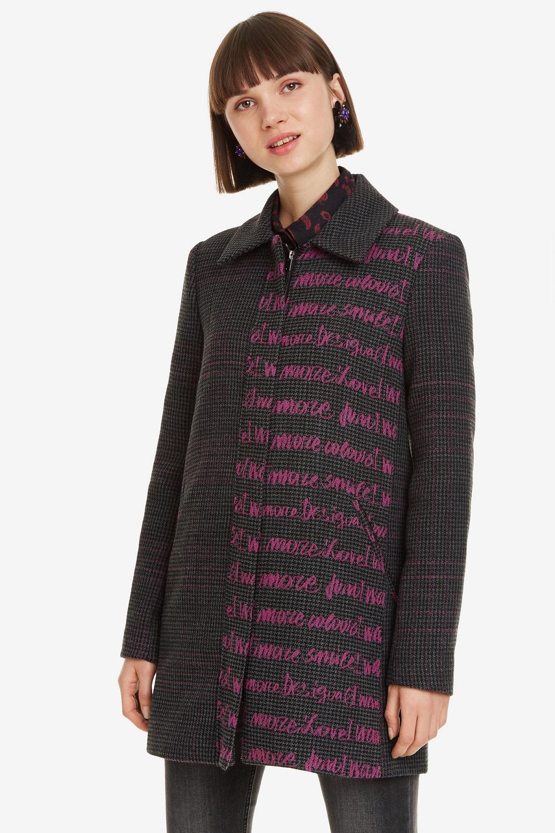 Manteau droit imprime femme