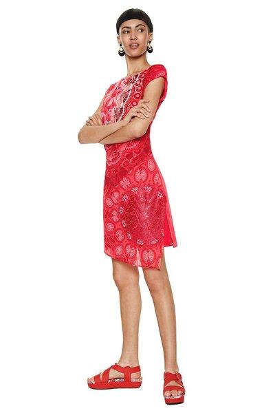 Robe Courte Indi Desigual Avec Mandalas Rouges Robe Femme Desigual Iziva Com