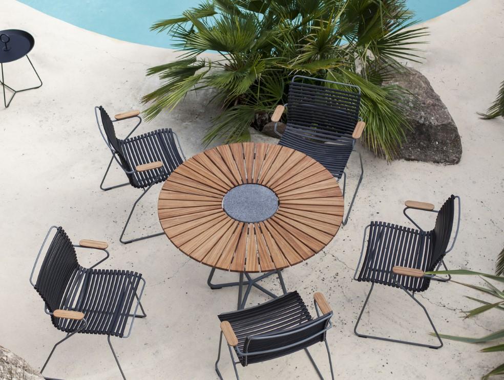 Table ronde Circle Houe Bambou / Piètement gris - Table de ...