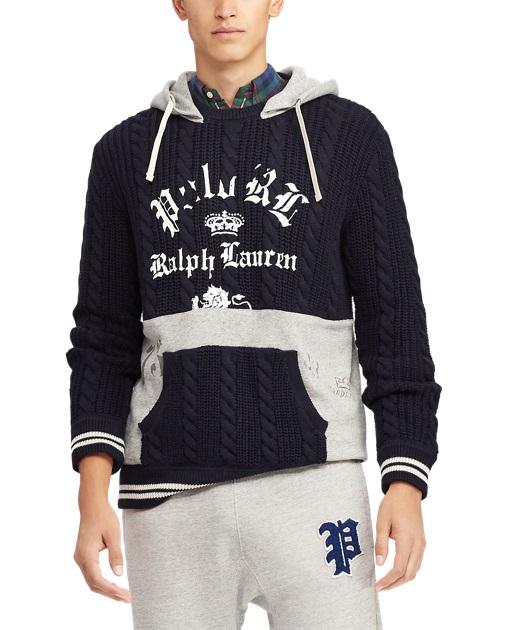 278d37ebff5 Polo Ralph Lauren Pull à capuche pan en molleton Bleu marine Gris chiné pour  Homme