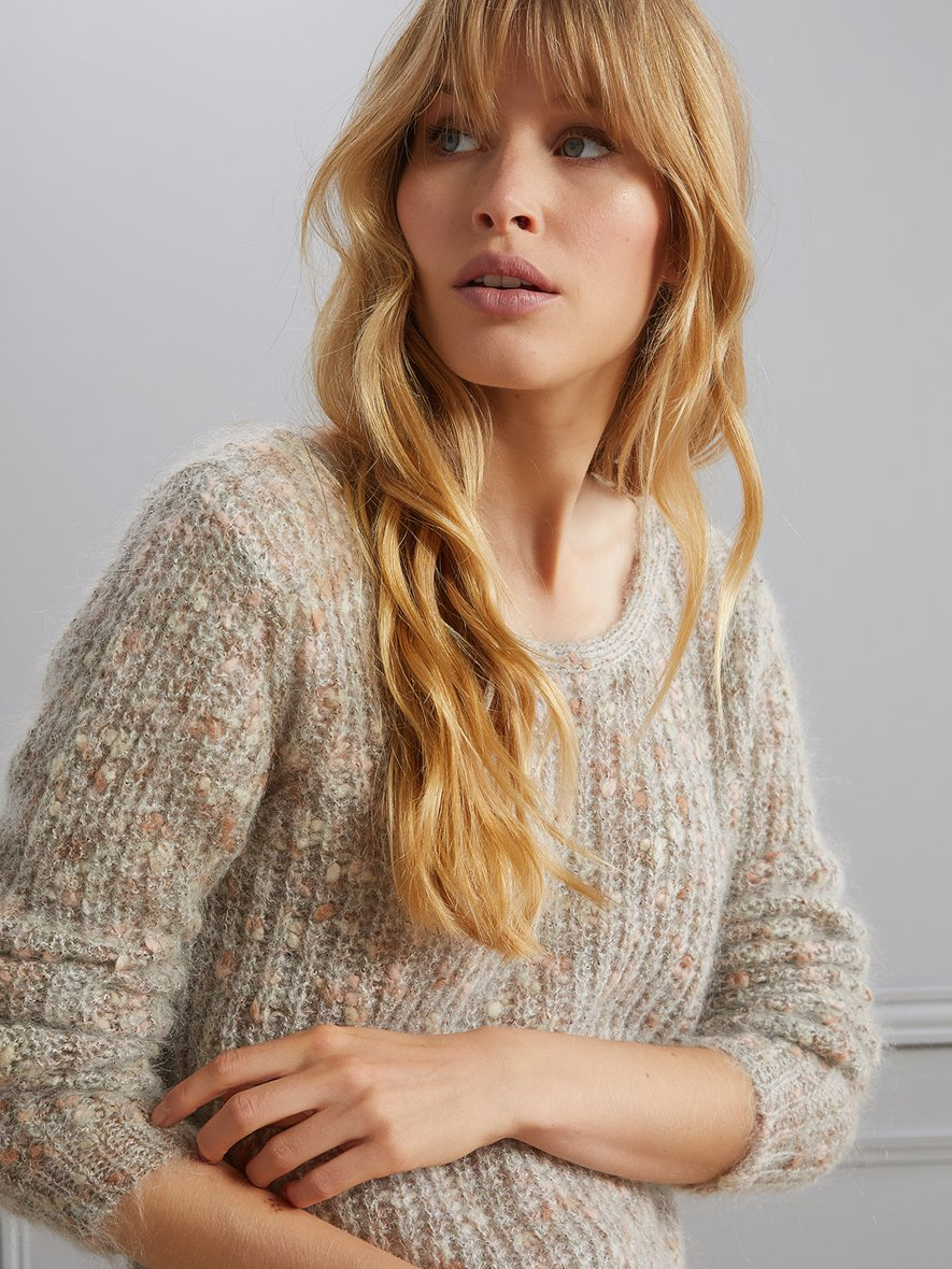 Pull femme double porter beige pastel multico Cyrillus