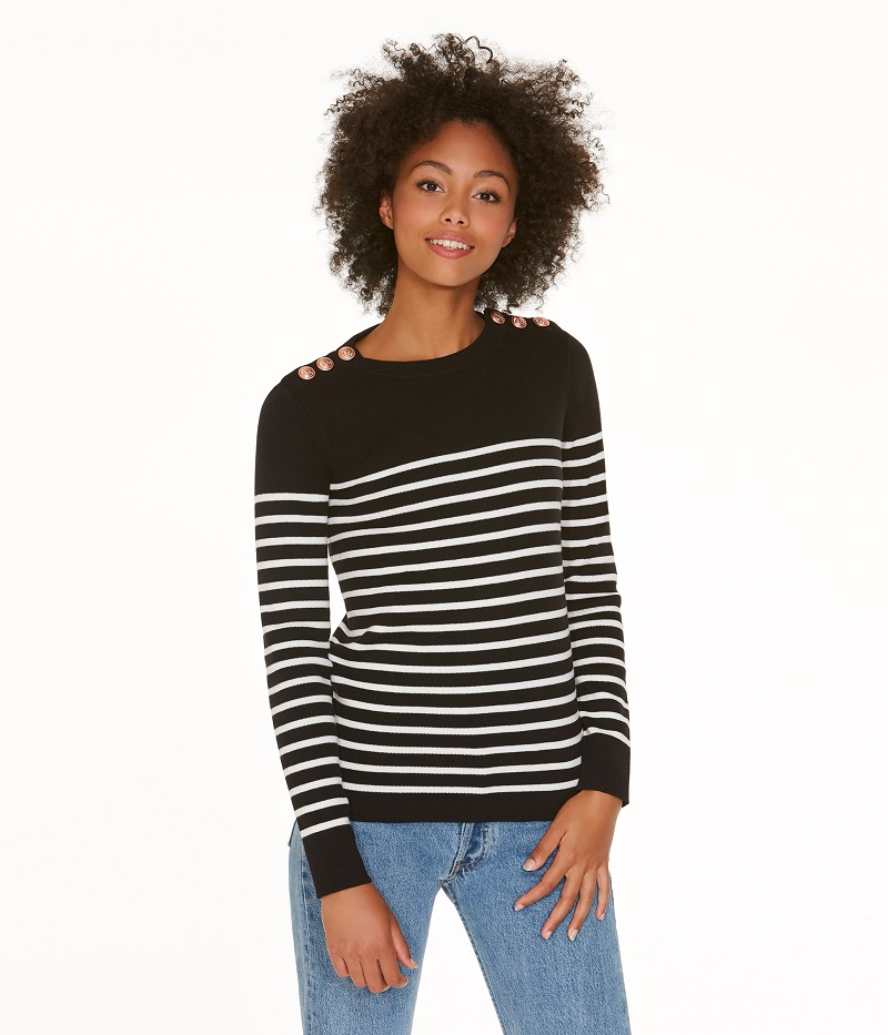 d8145c76cf Pull marin femme en coton rayé noir Noir / blanc Ecume Petit Bateau ...