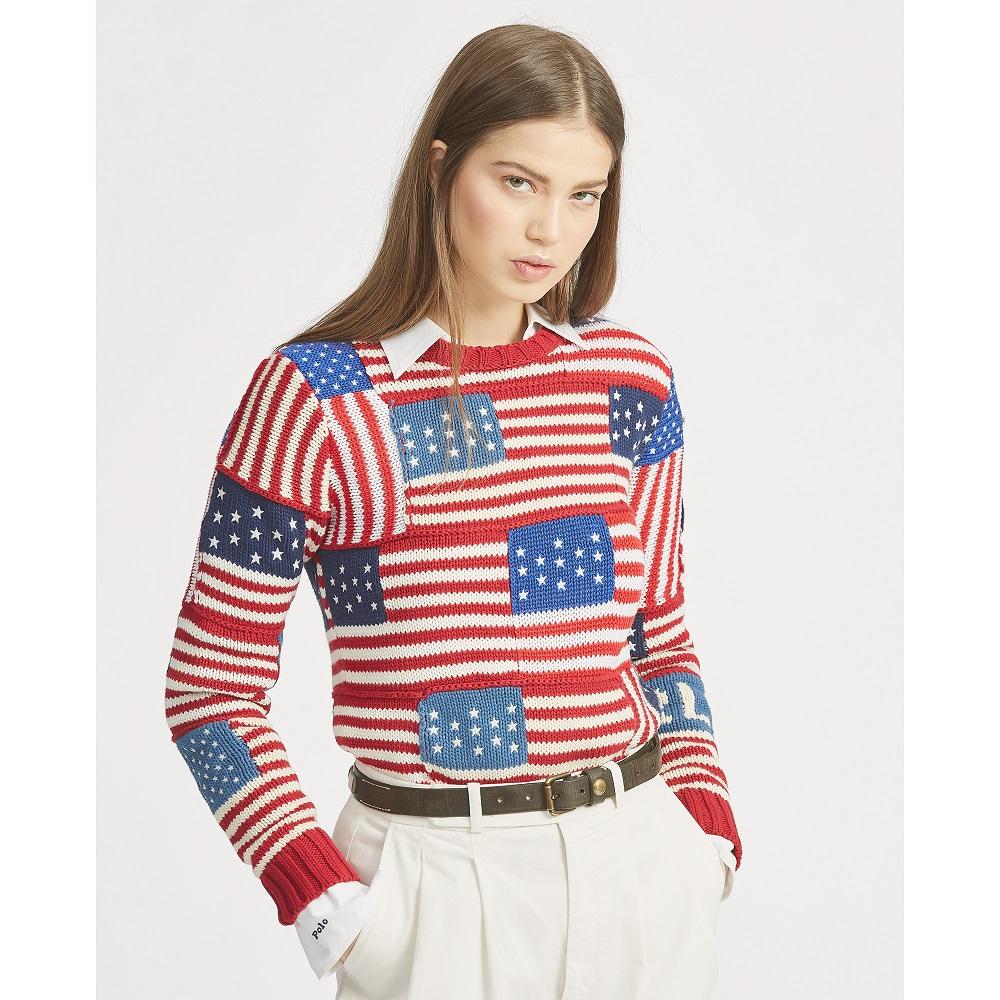 en stock 6cbfc 6b7d5 Polo Ralph Lauren Pull motif drapeau en coton multi - Pull ...