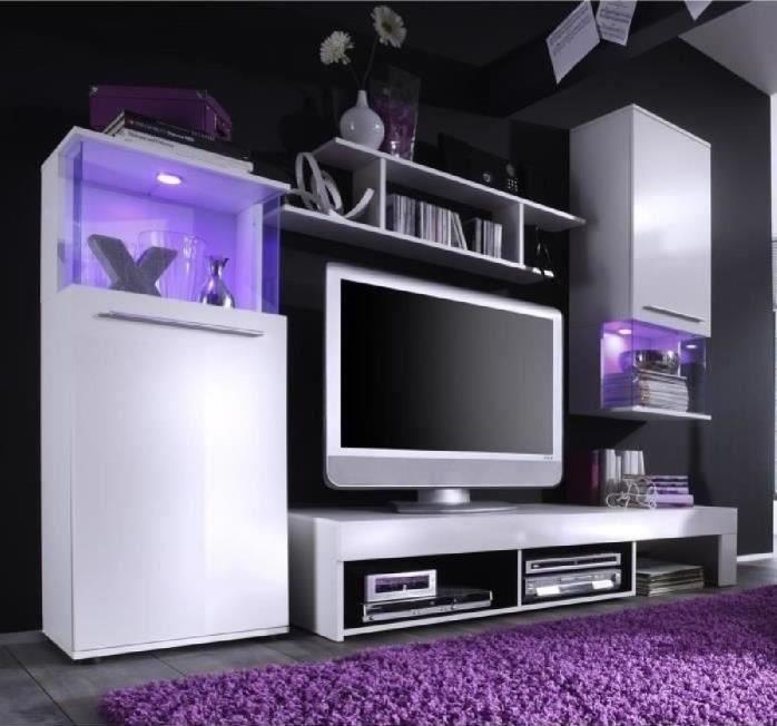 Dos Meuble Tv Mural Contemporain Blanc Brillant Pas Cher Meuble Tv