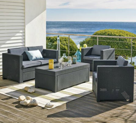 Salon de jardin alinea salon d 39 ext rieur riviera 4 pi ces for Table exterieur carrefour